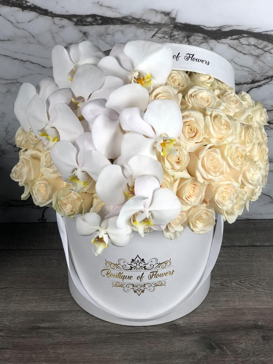 white cream rose and orchid round box